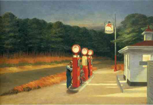 אדם, לבד, תחנת דלק. אי שם באמריקה / אדוארד הופר
